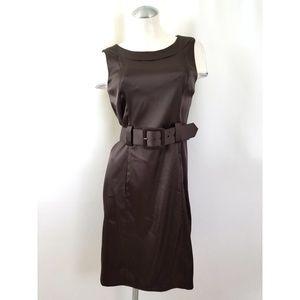 Dressbarn Size 6 Brown Belted Dress